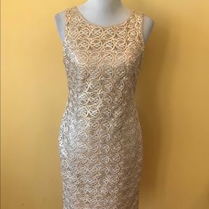 Calvin Klein Gold Sheath Dress Size 4